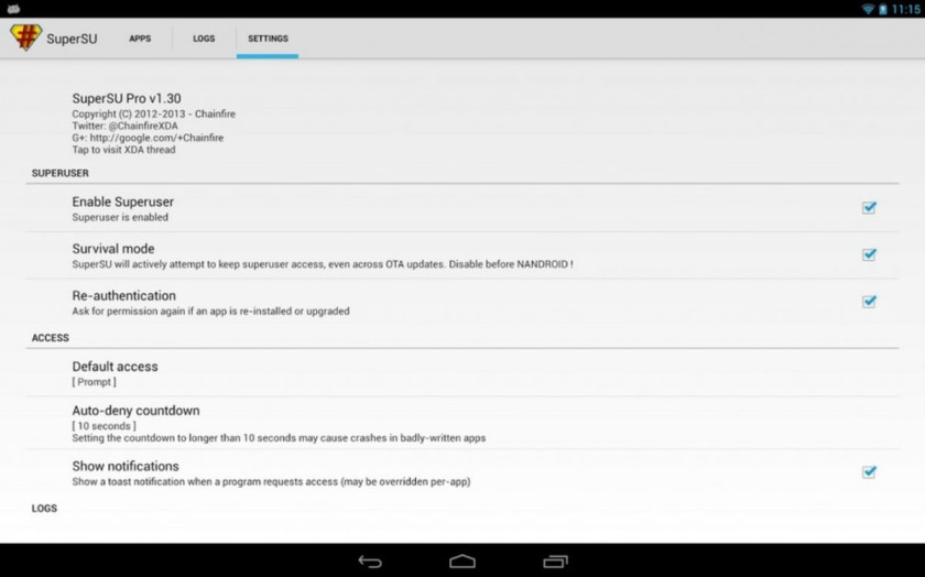 Unroot Android with SuperSU